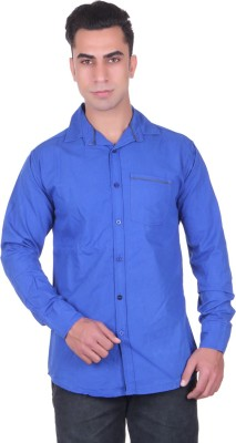 Cotblend Men's Solid Casual Dark Blue Shirt