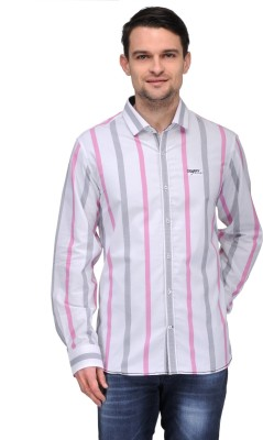 Canary London Men's Striped Casual Pink Shirt