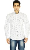 Binnote Men's Printed Casual White Shirt