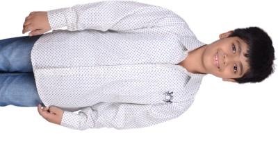 Kiaraa Boy's Printed Casual White Shirt