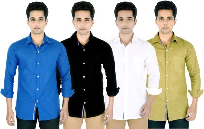 Yuva Men's Solid Casual Blue, Black, White, Beige Shirt