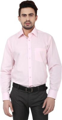 Leecosto Men,s Solid Formal Pink Shirt