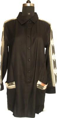 I Am For You Women's Applique Casual Black Shirt