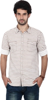 FRD13 Men's Striped Casual Brown Shirt