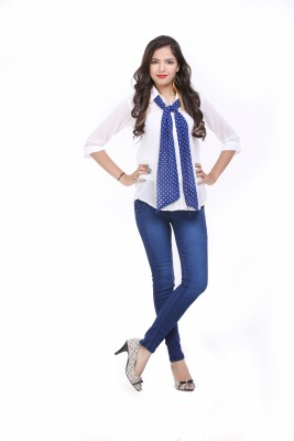 LOUISE BERRY Women's Solid Casual White Shirt