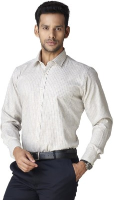 Warewell Men's Striped Formal Beige Shirt