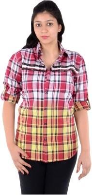 S9 Women's Woven, Checkered Casual Red, White, Yellow Shirt