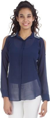 Veakupia Women's Solid Casual Dark Blue Shirt