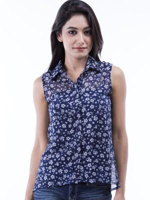 Peppermint Blues Women's Floral Print Casual Shirt