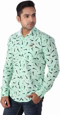 Regza Men's Printed Casual Light Green Shirt