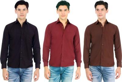 Atmosphere Men's Solid Casual Black, Maroon, Brown Shirt