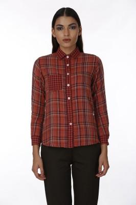 Baba Rancho Women's Checkered Casual Maroon Shirt