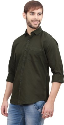 Vkg Men's Solid Formal Dark Green Shirt