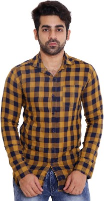 LIME TIME Men's Checkered Casual Yellow Shirt