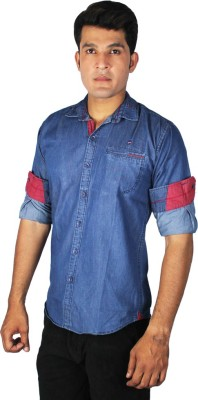 China Collection Men's Solid Casual Denim Blue Shirt