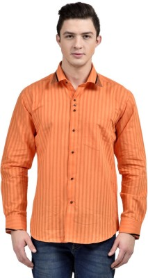 Future Plus Men's Self Design Casual Orange Shirt