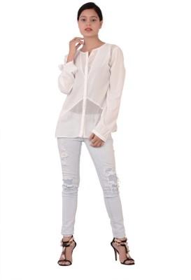 Fashnopolism Women's Solid Casual White Shirt