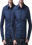Shivam Garments Men's Solid Formal Blue ...