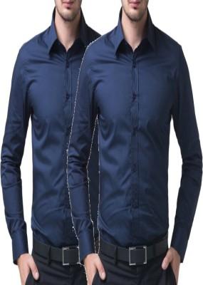 shivam Garments Men's Solid Formal Blue Shirt