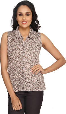 Azores Women's Floral Print Casual Brown, White Shirt