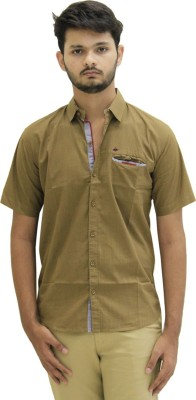 Hundred Degree Men's Solid Casual Beige Shirt
