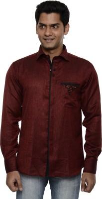 Ach Fashion Men's Self Design Casual Maroon Shirt
