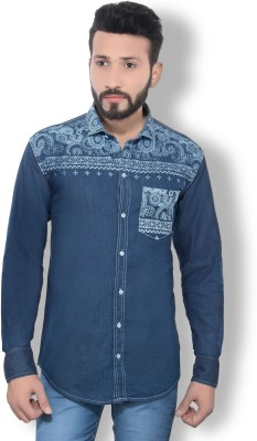 London Buck Men,s Graphic Print Casual Dark Blue Shirt