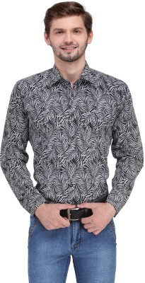 Ausy Men's Printed Casual Black, White Shirt