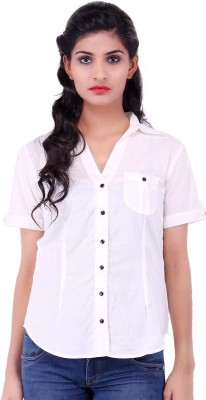 Fbbic Women's Solid Casual White Shirt