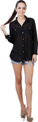 DDS Women's Solid Casual, Formal, Party Black Shirt
