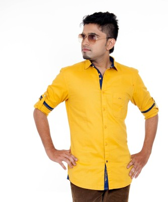 Passion Men's Solid Casual Yellow Shirt