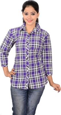 Jazzy Ben Women,s Checkered Casual Purple, White Shirt