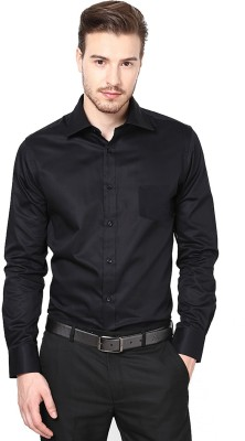 Lee Marc Men's Solid Formal Black Shirt