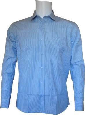 Ardeur Men's Striped Formal Blue Shirt
