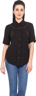 Urban Helsinki Women's Solid Casual Black Shirt
