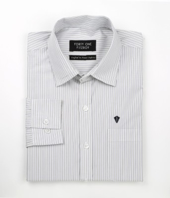 FORTY ONE FITZROY Men's Striped Formal Blue Shirt