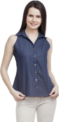 ORIANNE Women's Printed Casual Denim Blue Shirt