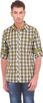Sleek Line Men's Checkered Casual Green Shirt