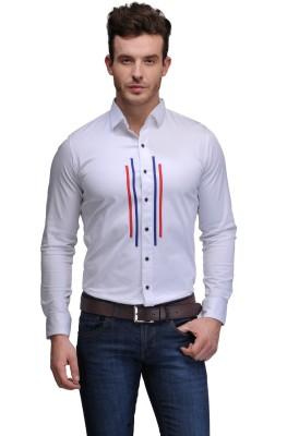 Edjoe Men's Striped Casual White Shirt