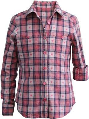 The Cranberry Club Girl's Checkered Casual Pink Shirt