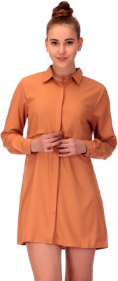 CHKOKKO Women's Solid Casual Brown Shirt
