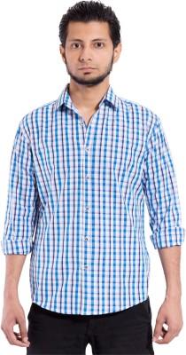 Chaman Handicrafts Men's Checkered Casual Blue Shirt