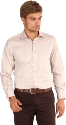 I-Voc Men's Harringbone Formal Beige Shirt