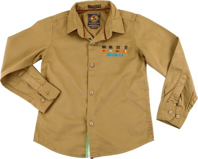 Jim & Jam Boy's Solid Casual Brown Shirt