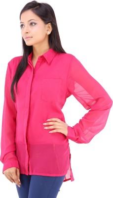 Inblue Fashions Women's Solid Casual Pink Shirt