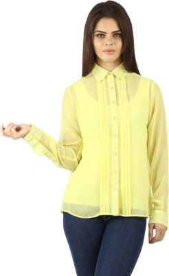 Uptown Galeria Women's Solid Casual Yellow Shirt