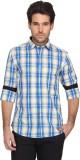 Denimlab Men's Checkered Casual Blue, Ye...