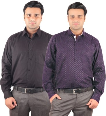RIPARV Men's Solid, Printed Formal Blue, Black Shirt