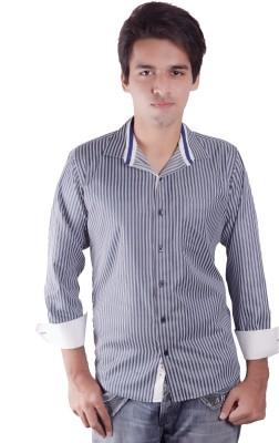 Elle Et Lui Men's Striped Formal Blue, Green Shirt