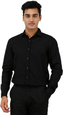 Aaral Men's Solid Formal Black Shirt